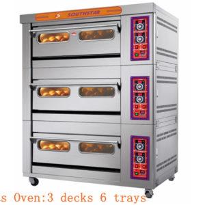 Lò Nướng Bánh Ngọt Bánh Mì 3 Tầng 6 Khay Gas YXY-60A